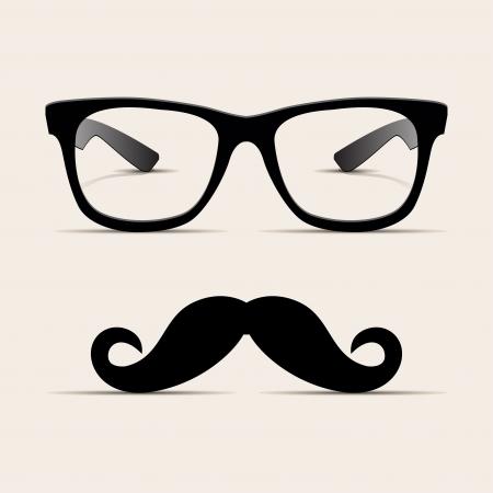 bigote: Hipster gafas, Vector Hipsta hombre