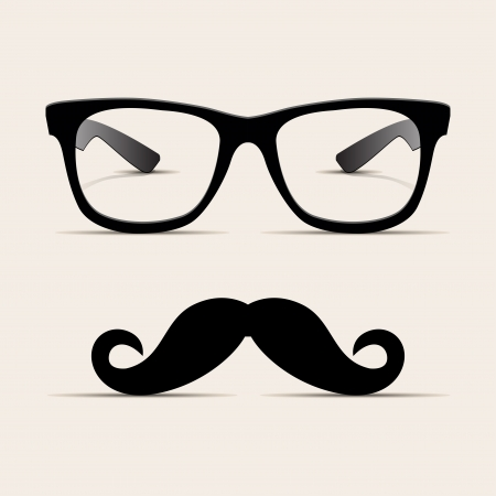 fashion bril: Hipster glazen, Hipsta man Vector