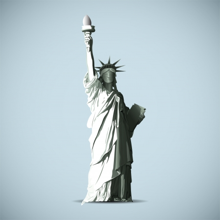 liberty statue: Statue Of Liberty Vector Black Shadows Silhouette Illustration