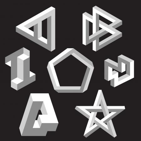 Paradoks: Złudzenie optyczne ilustracji wektorowych symboli