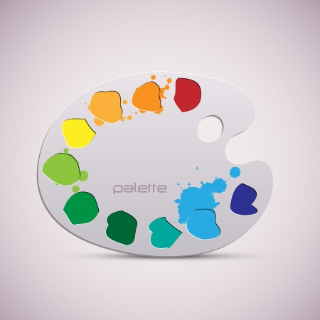 paints: Wooden art palette  Color illustration