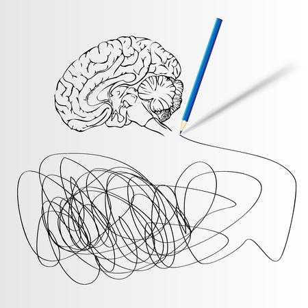 Abstracte wetenschap achtergrond met hersenen Vector Illustratie