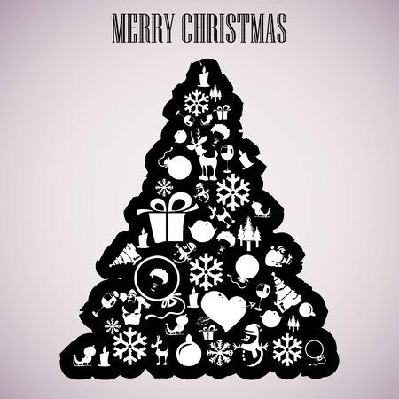 Christmas tree applique vector  background. Postcard Stock Vector - 15500973
