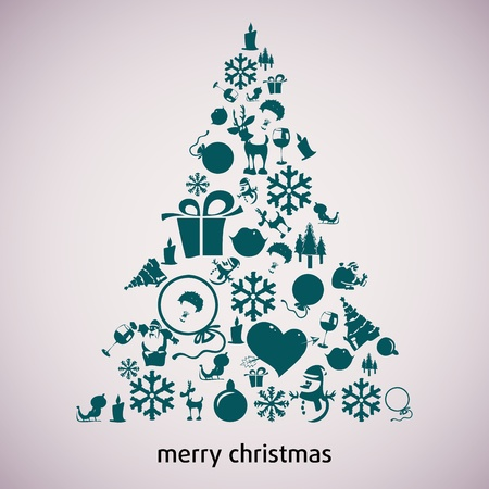 Christmas tree applique vector  background. Postcard Stock Vector - 15500965