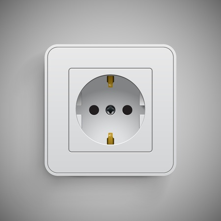 Socket, vector. Electrical outlet.  Technology illustration