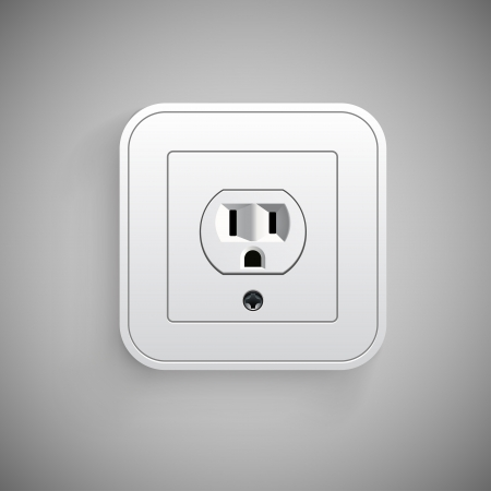 Socket, vector. Electrical outlet.  Technology illustration