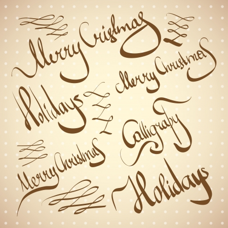christmas greetings  hand lettering set (vector) Illustration