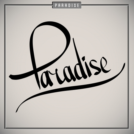 manuscrita: Para�so sauda��es set lettering m�o (vetor)
