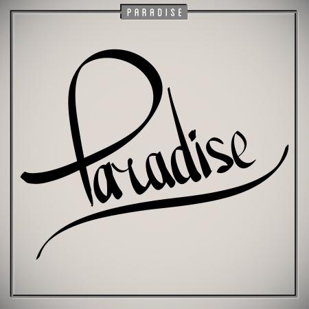 Paradise greetings  hand lettering set (vector) Illustration