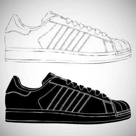 スニーカー: 黒と白スニーカー セット  イラスト・ベクター素材