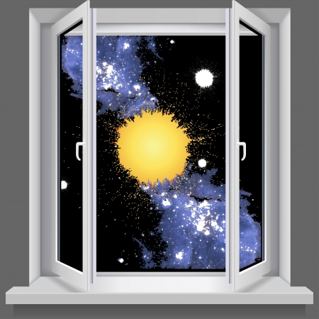Opened plastic window.  With views of the cosmos Vector