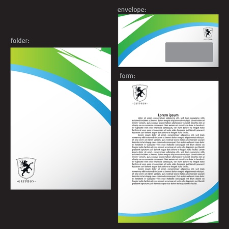 Professional corporate identity kit or business kit with artistic, abstract wave effect for your business