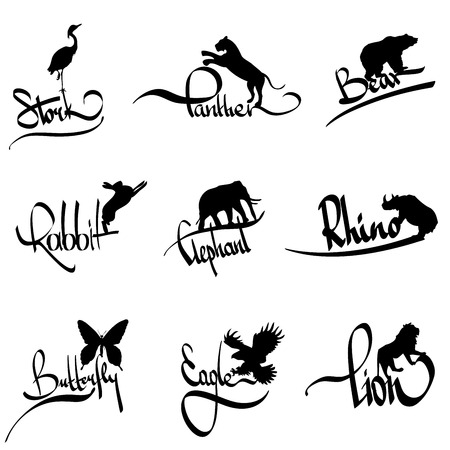 vector set of animals silhouette  with lettering Vector