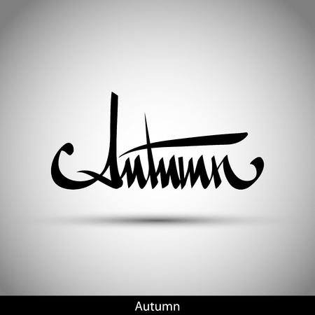 Autumn hand lettering -  handmade calligraphy, vector