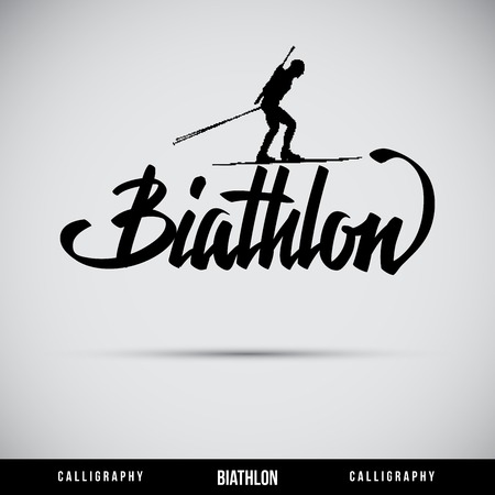 Biathlon hand lettering - handmade calligraphy, vector Illustration