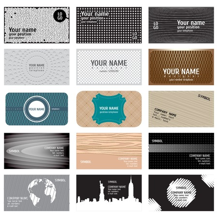 Vintage business cards collection  Beautiful harmonic colors