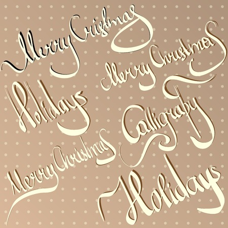 christmas greetings  hand lettering set  vector