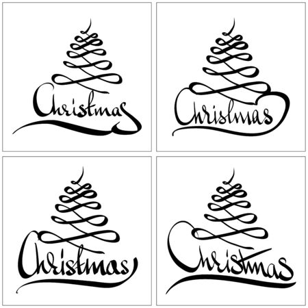 Christmas Greeting Card  Merry Christmas lettering, vector illustration Illustration