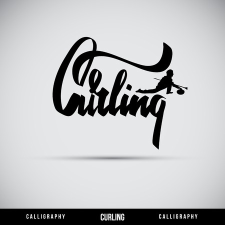 Curling hand lettering - handmade calligraphy, vector