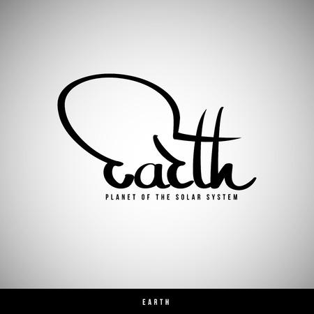 earth in hand: Letras de la mano de la Tierra - la caligraf�a hecha a mano, vector Vectores