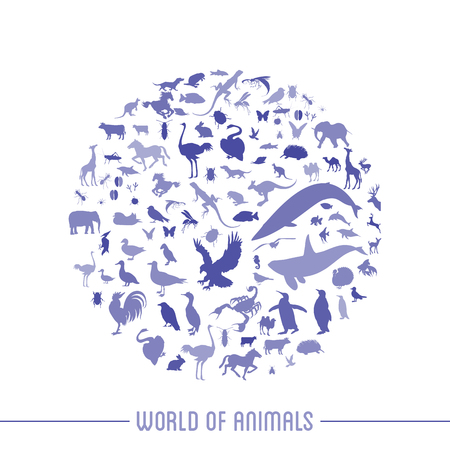 Blue globe outline made from birds, animals icons Vector