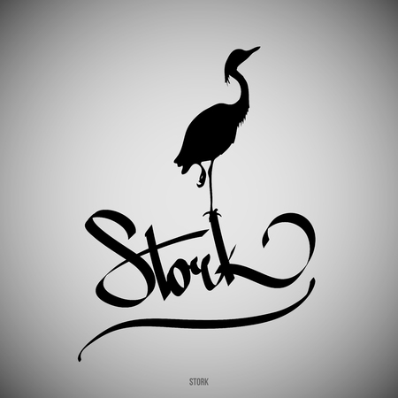 Stork Calligraphic elements -  black design elements