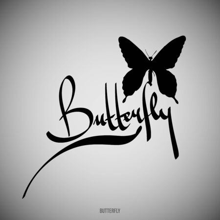 Butterfly Calligraphic elements -  black design elements Vector