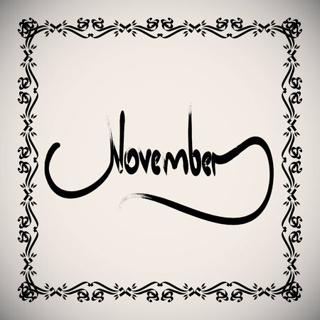 Calligraphic elements month -  black design vintage
