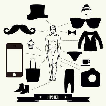 Vintage design elements set  hats glasses sungl asses mustaches bow  ties  - vector illustration  Stock Vector - 30793123