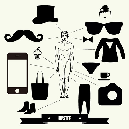 Vintage design elements set  hats glasses sungl asses mustaches bow  ties  - vector illustration