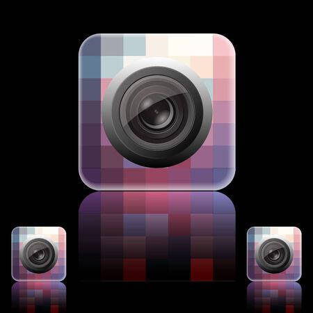 notarized: Photo Icon on Square Black Internet Button Original Illustration