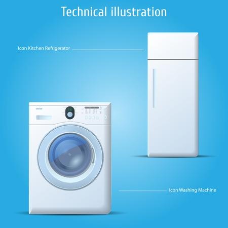 Vector icons kitchen refrigerator and washing machine