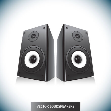 subwoofer: Pair Of Black Loud Speakers Isolated on White Background