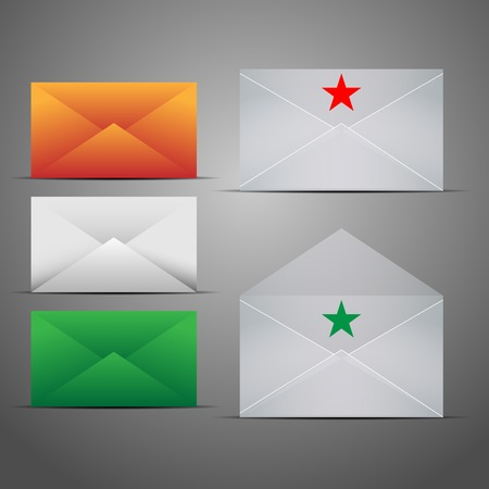 Mail Marketing Icon Set  Mail Envelopes with Reflection  Illustration