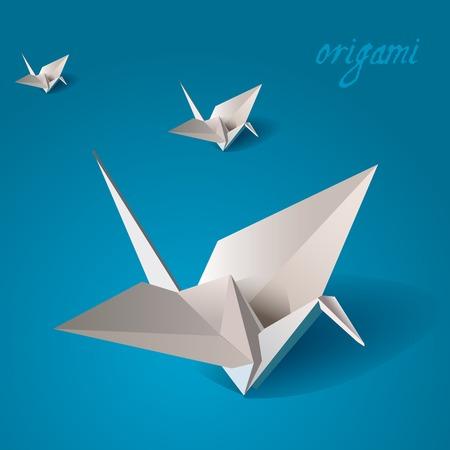 gru origami illustrazione vettoriale uccello