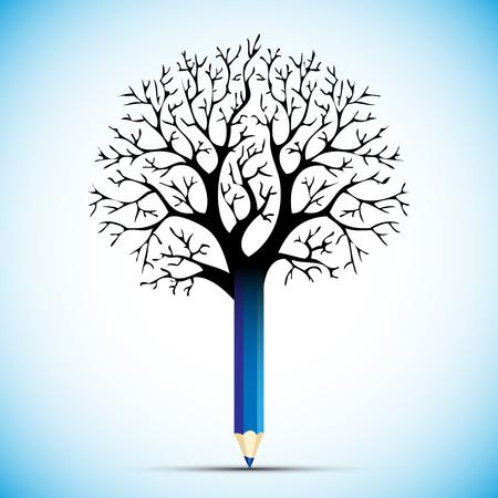 sharpening: pencil tree color bulb  vector illustration