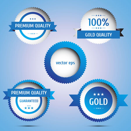 quality guarantee: Premium Quality and Guarantee Labels Illustration
