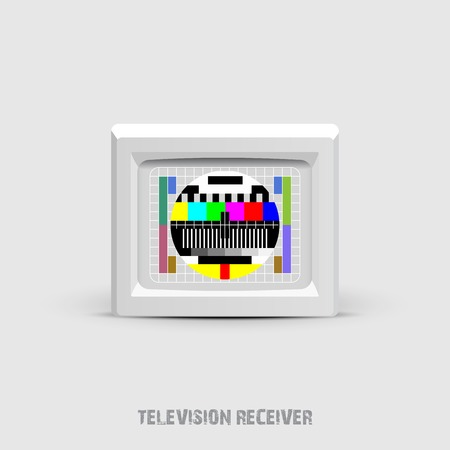 illustration of isolated a  retro tv with color screen on white Vector