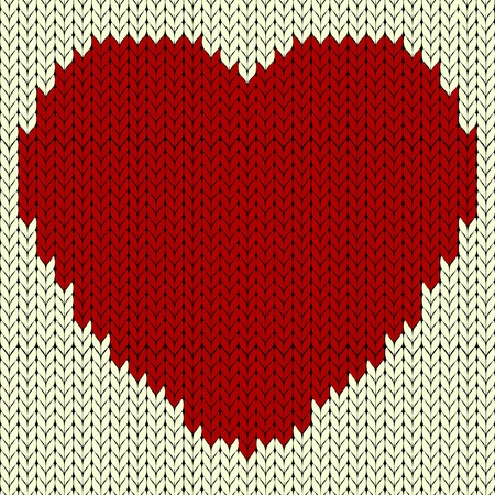 Knitted vector pattern with red heart Vector