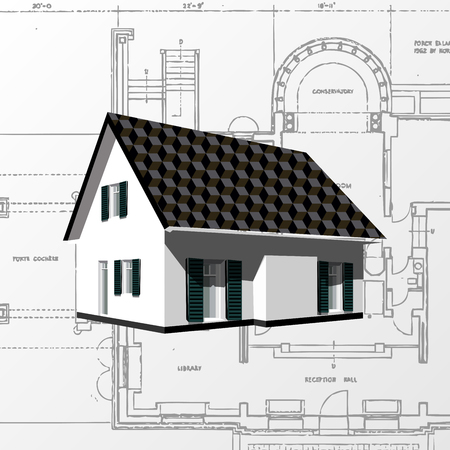Architectural background  vector   Architecture planning on paper, construction plan Illustration