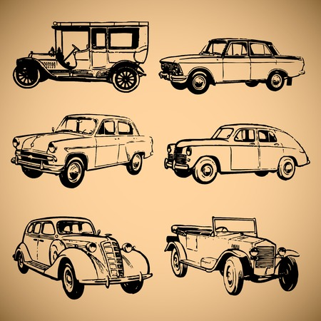 cabrio: Modern and vintage cars  silhouettes collection