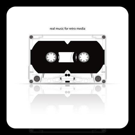 hi fi: audio tape cassette isolated on white, abstract vector art illustration
