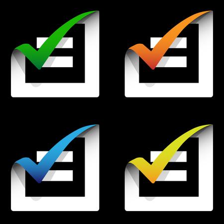 checklist icon set  Vector  Color Illustration