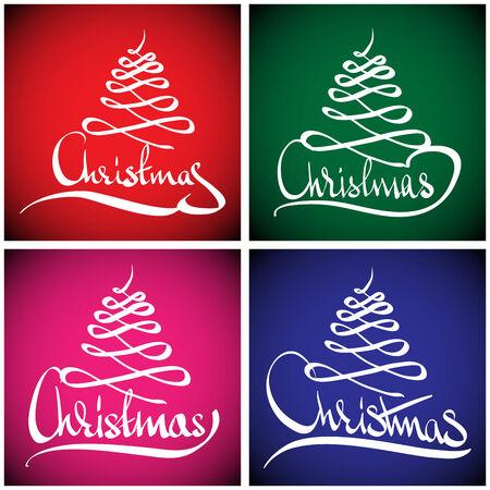 Christmas Greeting Card  Merry Christmas lettering, vector illustration Illustration