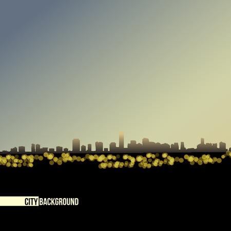 night skyline  - vector background