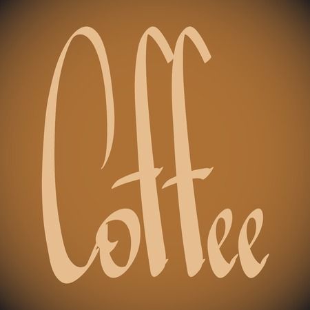 coffee lettering with  an inscription in form of steam
