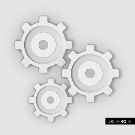 White Gear system   Vector illustration  Illustration