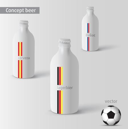 vector white beer bottle on background  Illustration
