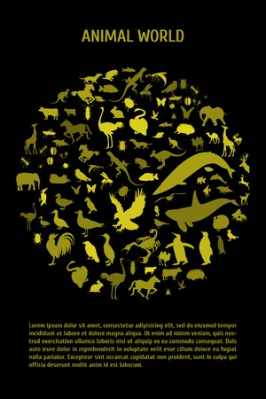 Globe outline made from birds, animals poster