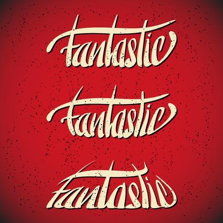 Fantastic greetings  hand lettering set  vector